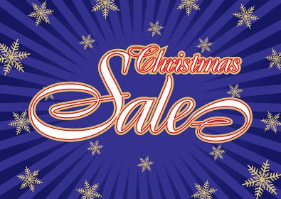 クリスマスセールバナー販売促進用テンプレート|クリスマスロゴと放射線雪の結晶ギフトのイメージ