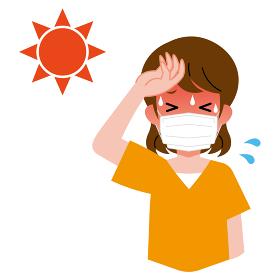熱中症、太陽、マスクをしている、若い女性