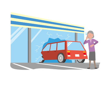 アクセルとブレーキを踏み間違えて店舗に突っ込んでしまった高齢女性