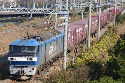 小春日和の貨物線をゆっくり進むコンテナ列車