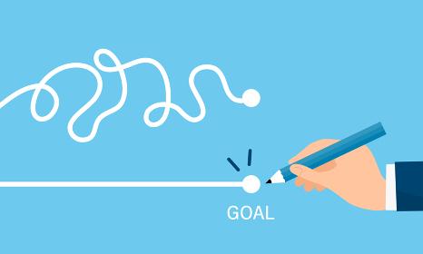 線を引く手、最速で目標達成するイラストイメージ