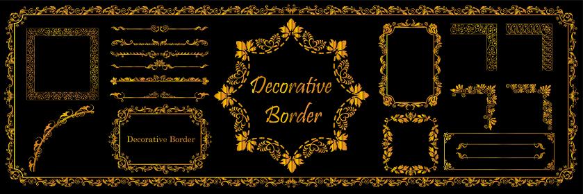 アールヌーヴォー調のオーナメント 飾り罫 飾り囲み バックグラウンド テンプレート 素材セット