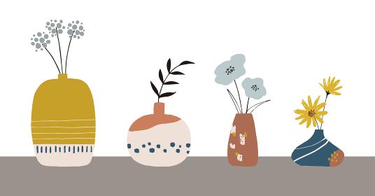 北欧風モダンな花と花瓶の手描きイラストセット