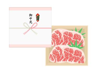高級霜降り牛肉の御中元のイラスト