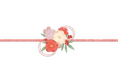 華やかな和風の花柄の水引のイラストレーショ