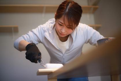 ローラー塗装をする女性 DIYイメージ