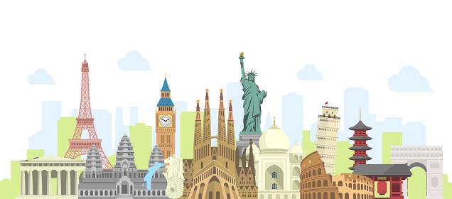 海外旅行・バカンス イメージバナー / 世界の有名な建築物(遺跡・建物・世界遺産)