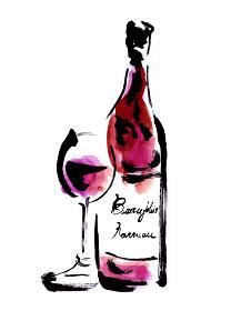 ボジョレーヌーボーのワイングラスとボトルの手描きイラスト