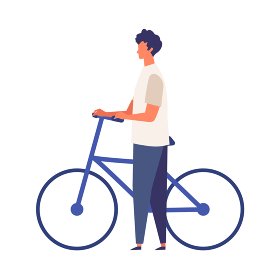 夏服で自転車を押す男性のおしゃれなイメージ