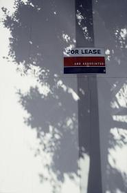 白い板に強い日差しの木陰にfor leaseの看板
