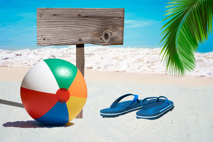 colorful beach ball,flip flops and empty wooden sign on the beach