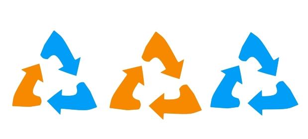 色の違うリサイクルのアイコン
