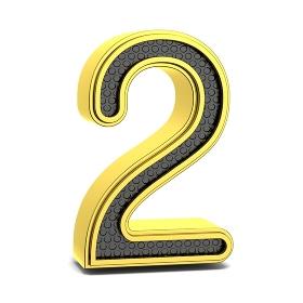 Golden and black round font. Number 2. 3D