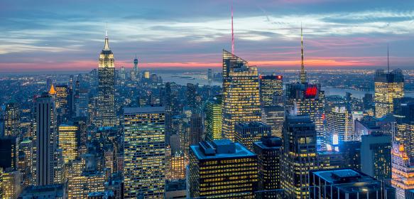 New York - DECEMBER 20, 2013: View of Lower Manhattan on December 20 in New York, USA. New York has one of the best night views. New York - DECEMBER 20, 2013: View of Lower Manhattan on Decembe