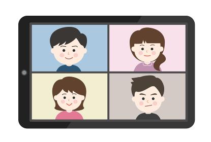 オンライン通話・笑顔の友達イラスト