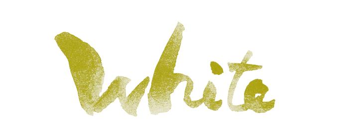 whiteという滲みのある手描き筆書き文字
