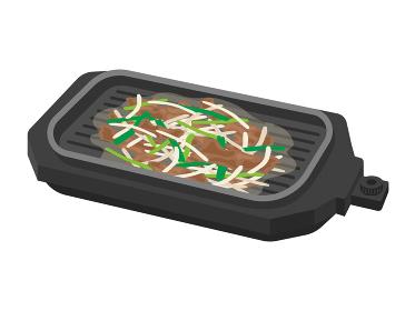 ホットプレートで野菜炒めを調理するイラスト