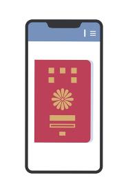 スマホの画面に表示されたパスポートのイラスト(パスポートの電子化・シンプル)