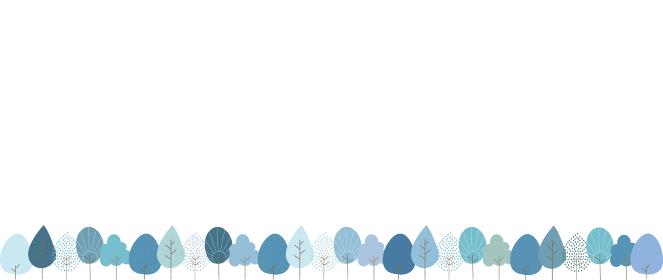 いろいろな種類の木が並ぶ冬の風景イラスト