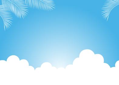 青空に雲とヤシの葉