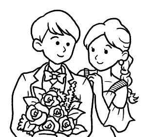 新郎新婦の線画イラスト
