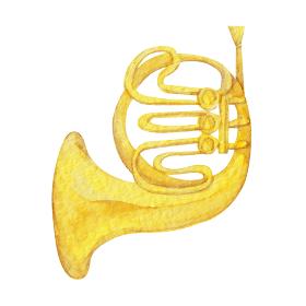 ホルン 楽器 オーケストラ 水彩 イラスト