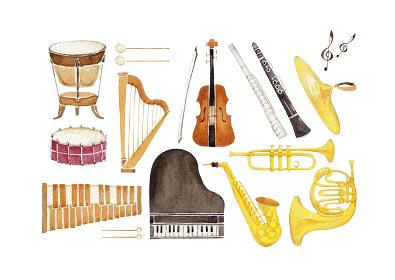 楽器 オーケストラ アイコン セット 水彩 イラスト