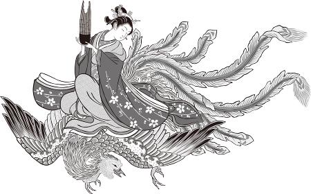 浮世絵 女性と不死鳥 その1