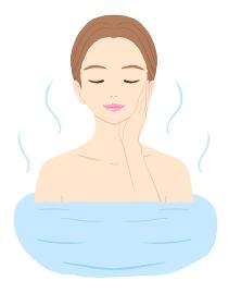 お風呂に入ってリラックスしている若い女性のイラスト