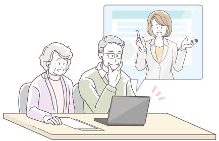 オンラインで商談する高齢の夫婦とスーツの女性のイラスト