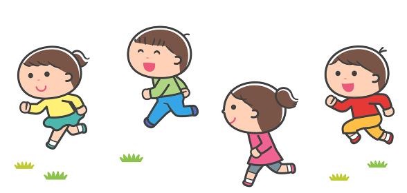 一緒に走る子どもたち / 線あり