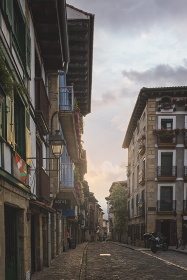 Streets of tipical Basque town at sunset