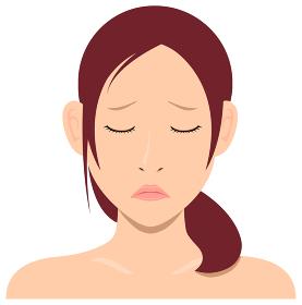 若い日本人女性モデル 上半身イラスト(美容・フェイスケア) / 悲しい顔・落ち込んでいる顔