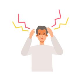 頭痛、ワクチンの副反応を感じる高齢男性