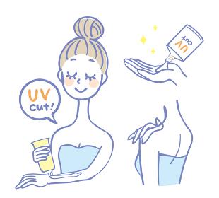 日焼け止めクリームを塗る女性