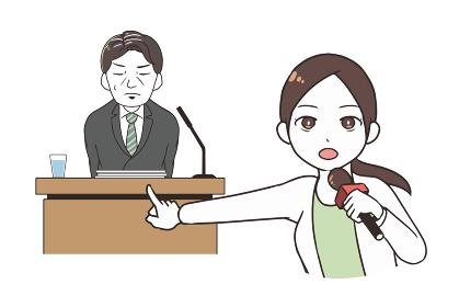 謝罪会見を取材する女性レポーター