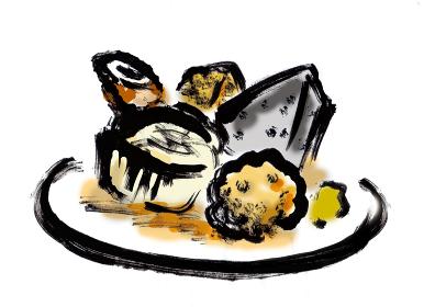 手描きの皿に盛ったおでんの和風手描きイラスト素材