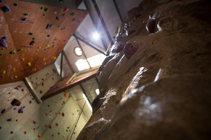 Low angle of wall with footholds