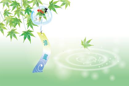 暑中お見舞葉書デザイン(横・筆文字)|波紋の水面と緑の楓と金魚柄の風鈴のある風景|夏のイメージ