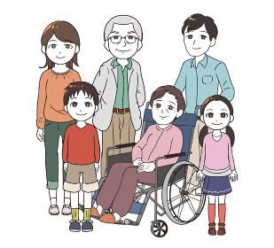 高齢女性と家族みんな