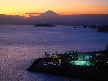 逗子・大崎公園からの逗子マリーナと富士山