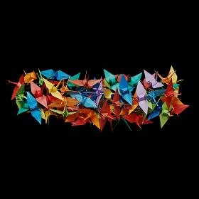黒バックに折り紙の鶴で作ったマイナス記号