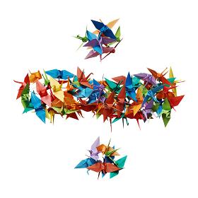 白バックに折り紙の鶴で作った除算記号