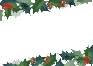 クリスマスフレーム 柊の飾り枠 上下斜めに装飾 水彩イラスト ロゴ無し(横長 A3・A4比率)