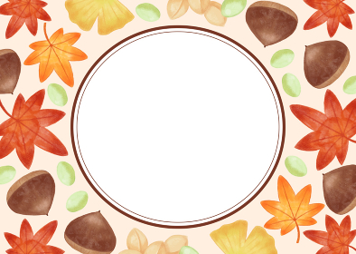 色鉛筆手描き 秋の紅葉と栗・銀杏フレーム素材