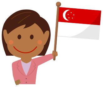人種と国旗 / ビジネスマン・会社員 女性 上半身イラスト/ シンガポール