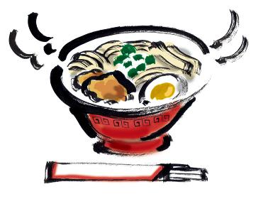 和風手描きイラスト素材 中華料理 ラーメン 中華そば