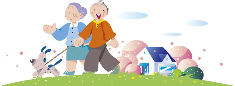 老夫婦の春の散歩