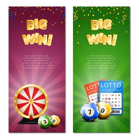 Bingo Lottery Vertical Banners. Lottery vertical banners set with decorative images of confetti realistic gaming accessories lottery tickets and editable text vector illustration