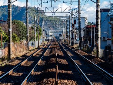 真っ直ぐに伸びる東海道本線の線路 興津駅付近
